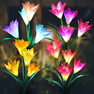 AmnoAmno Solar Garden Stake Lights Outdoor Decorative, 4 Pack Solar Powered Flower Lights Waterproof with 16 Lily Flowers, Multi Color Changing Led Solar Light for Yard Pathway Porch Flowerbed