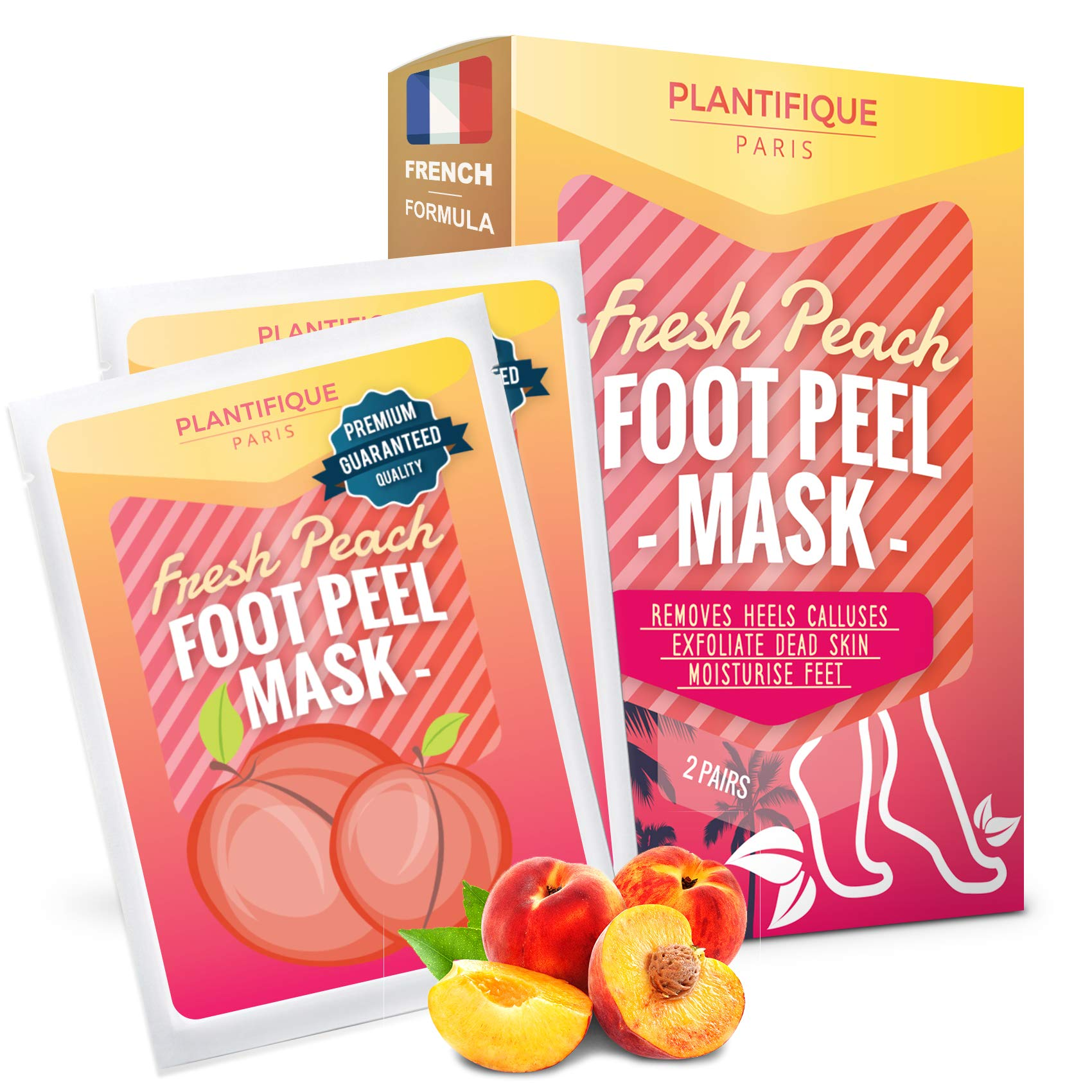 Soft Foot Exfoliating Peeling Scrub Mask -Baby Foot Peel -Removes Calluses,Dead and Dry Skin - Repairs Rough Heels in 7 Days - Peel Mask for Men and Women(Peach) - Baby Foot Baby Feet Foot Peel 2 Pack by Plantifique