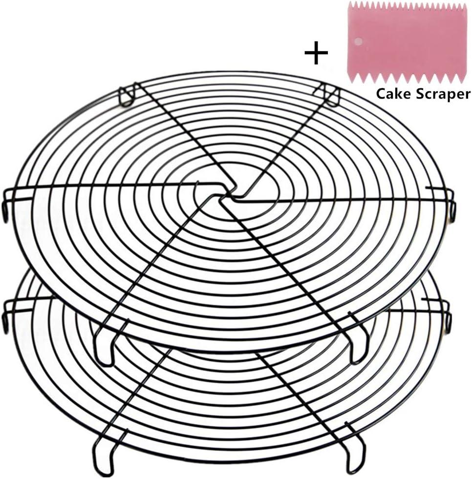 Mokpi Round Cooling Racks Wire Baking Steaming Rack, 12 Inch Diameter, Steamer Rack (Black-2 Pack)