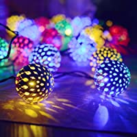Flexble Solar Fairy Lights Garden Outdoor/Indoor String Lights 20 Maroq Lantern LEDs Ambiance Lights Outside Waterproof Rope Lights for Bedroom,Party,Wedding,Xmas Tree,Yard,Fence,Home & DIY Decoration (Multi Color)