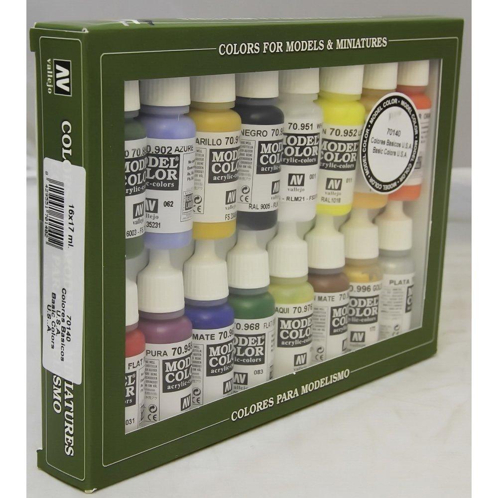 Vallejo 70140 - Vallejo Model Colour Basic Colors USA Acrylic Paint Set - 16 x Assorted 17millimeter Colour