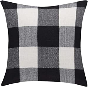 uxcell Cotton Linen Throw Pillow Covers Farmhouse Decor Checkers Plaids Square Cushion Case Home Decorative for Sofa Bedroom Car Black, White 22
