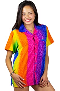 f1e1a216 V.H.O Funky Hawaiian Blouse Women Short-Sleeve Front-Pocket Rainbow Stripes  Multicolor