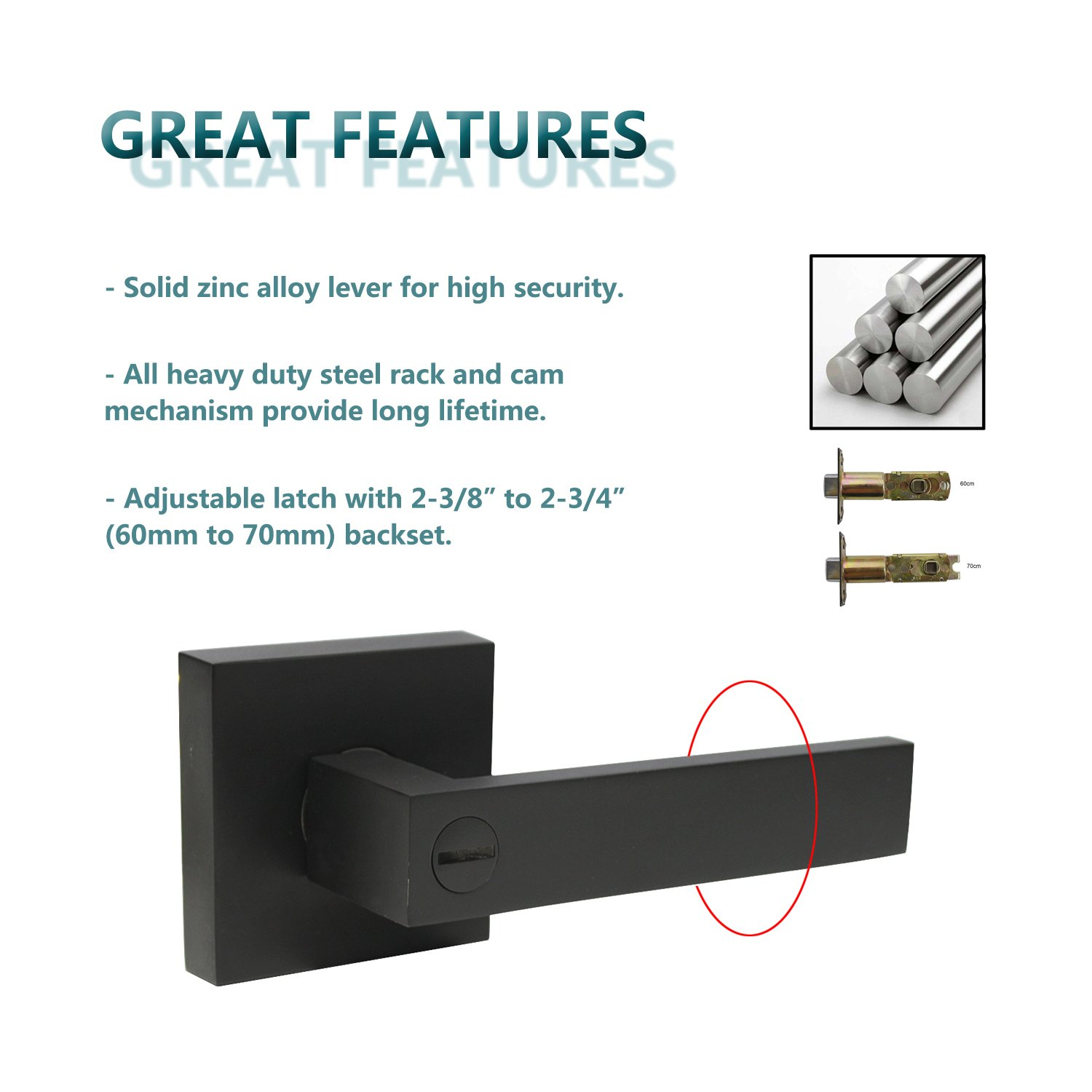6 Pack Stainless Steel Commercial Heavy Duty Door Leversets Flat Style, Privacy Bed and Bath Leverset Lockset, Left or Right Handing, Matte Black Finish 2.07 lb One Lever by KNOBWELL (Image #4)