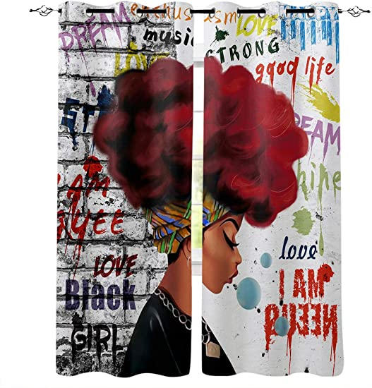 Wide Curtains Panels for Bedroom, African American Woman Red Hair with Graffiti Wall Window Treatment Thermal Insulated Grommet Drapes for Living Room Patio Sliding Door 2 Panels, 52 x96