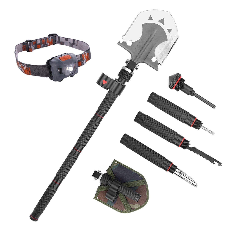 Multi-functional Military Portable Folding Shovel Steel Spade Multi tool knife Outdoor Survival Equipment Kit with LED Flashlight Headlamp Flintstones for Camping Hiking Gardening Car Emergency