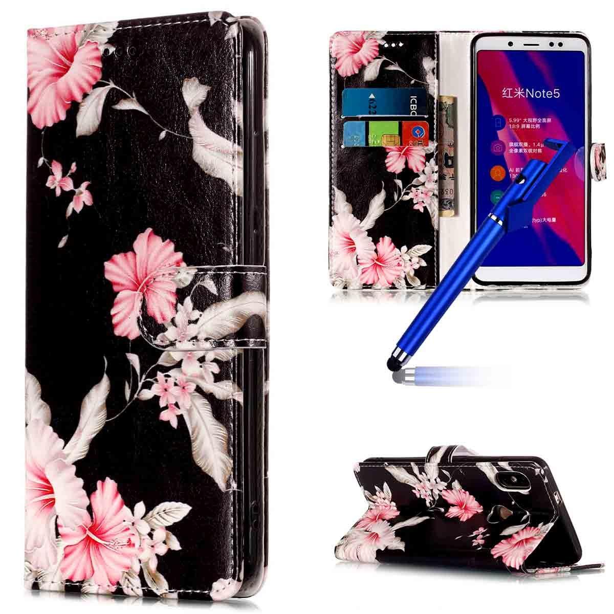 MoreChioce Xiaomi Redmi Note 5 Hülle,Leder Flip Case für Xiaomi Redmi Note 5, Handyhülle Ledertasche Klapphülle Magnetische für Xiaomi Redmi Note 5