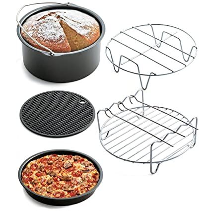 Chartsea Air Frying Pan Accessories 5pcs Fryer Baking Basket Pizza Plate Grill Pot Mat (A