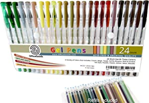 OfficeGoods Earth Tone Gel Pen Set - 24 Premium & Vivid Colors with a Full Set of Refills Included. Perfect for Nature Scenes, People & Animals - with More Ink.