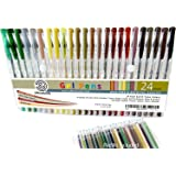OfficeGoods Earth Tone Gel Pen Set - 24 Premium & Vivid Colors with a Full Set of Refills Included. Perfect for Nature Scenes