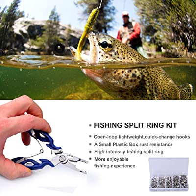 200Pcs Fishing Stainless Steel Snap Split Ring Clip Swivel Lure Tackle Connector