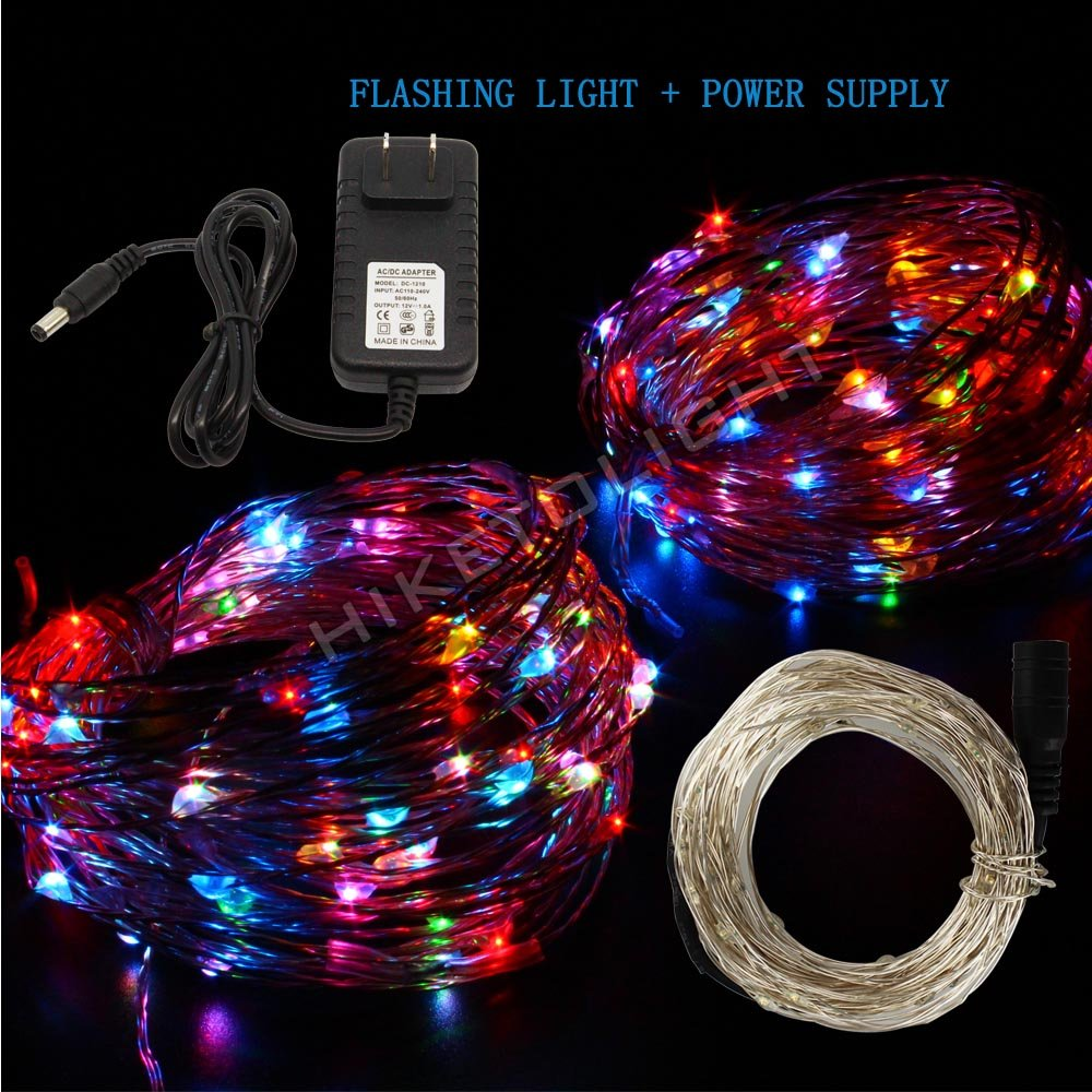 HIKETOLIGHT Flashing Light 10M 100LEDs Waterproof Starry Light + 12V 1A Power Supply for Indoor and Outdoor DIY Decoration (full color string)
