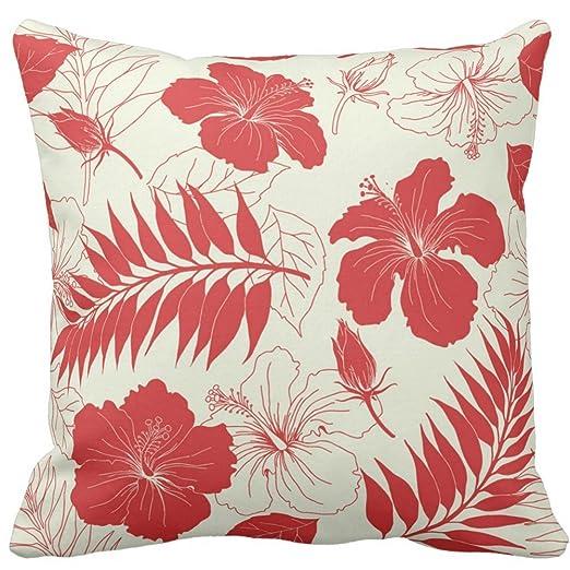 Cojín casos personalizados diseño de flores de rojo y crema ...