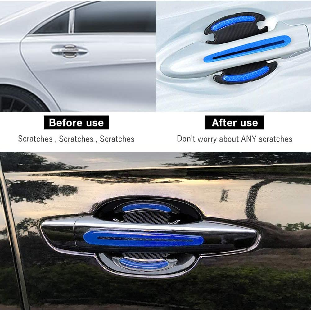 FEIDAjdzf Car Door Cup Handle Paint Scratch Protector Sticker 3D Carbon Fiber Auto Door Handle Scratch Cover Guard Film Car Door Handle Safety Reflective Strips