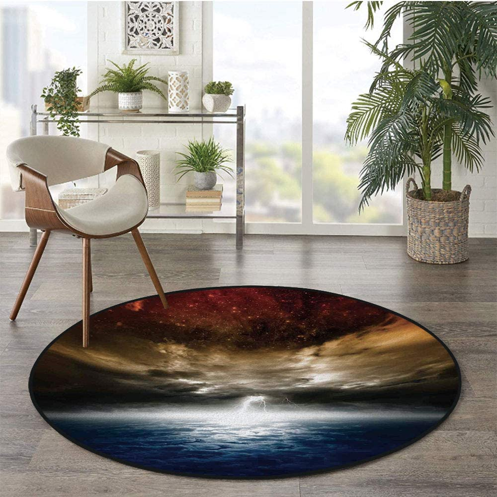36 x 72 Half Round Door Mat,Magical Mystic Lightning Activity Outer Space Nebula Neon Rays Cosmos Print Outdoor//Indoor Entry Rug,for Home Kitchen Office Standing Desk Mats,Red Yellow Blue