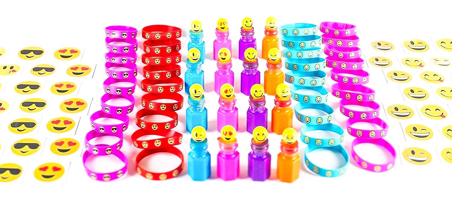 84 Piece Mega Emoji Party Supplies Emoticon Smile Toy Novelty Party Favor Assortment; 24 Emoji Smile Bubble Bottles; 24 Silicone Emoji Smile Bracelets; 36 Emoji Smile Temporary Tattoos