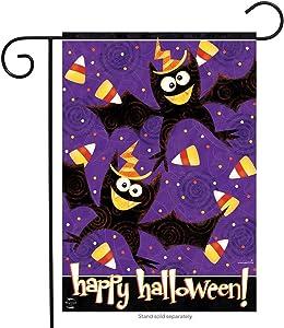 "Briarwood Lane Happy Halloween Bats Garden Flag Candy Corn Holiday Humor 12.5"" x 18"""