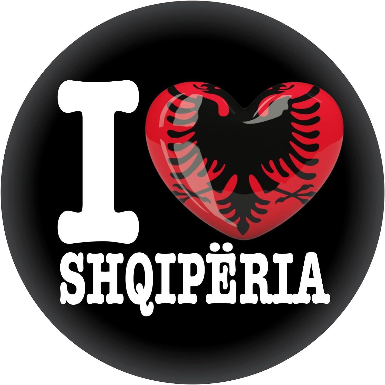 FanShirts4u Button//Badge//Pin I Love ALBANIEN Fahne Flagge ALBANIA SHQIP/ËRIA