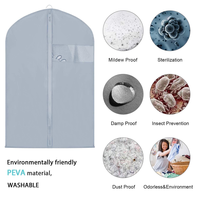 Copertura di Vestito Trasparente Impermeabile Lavabile Ecologica Custodia per Abiti 6 pc. Borse dei Vestiti NewPI Copriabiti Antipolvere Borsa Porta Abiti Sacchetto della Copertura del Vestito