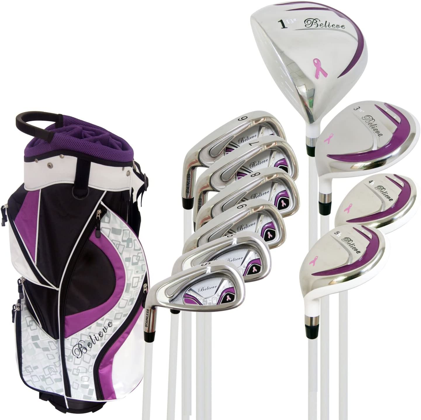 Amazon Com Founders Club Left Handed Believe Ladies Complete Golf Club Set Purple Left Handed Standard Sports Outdoors