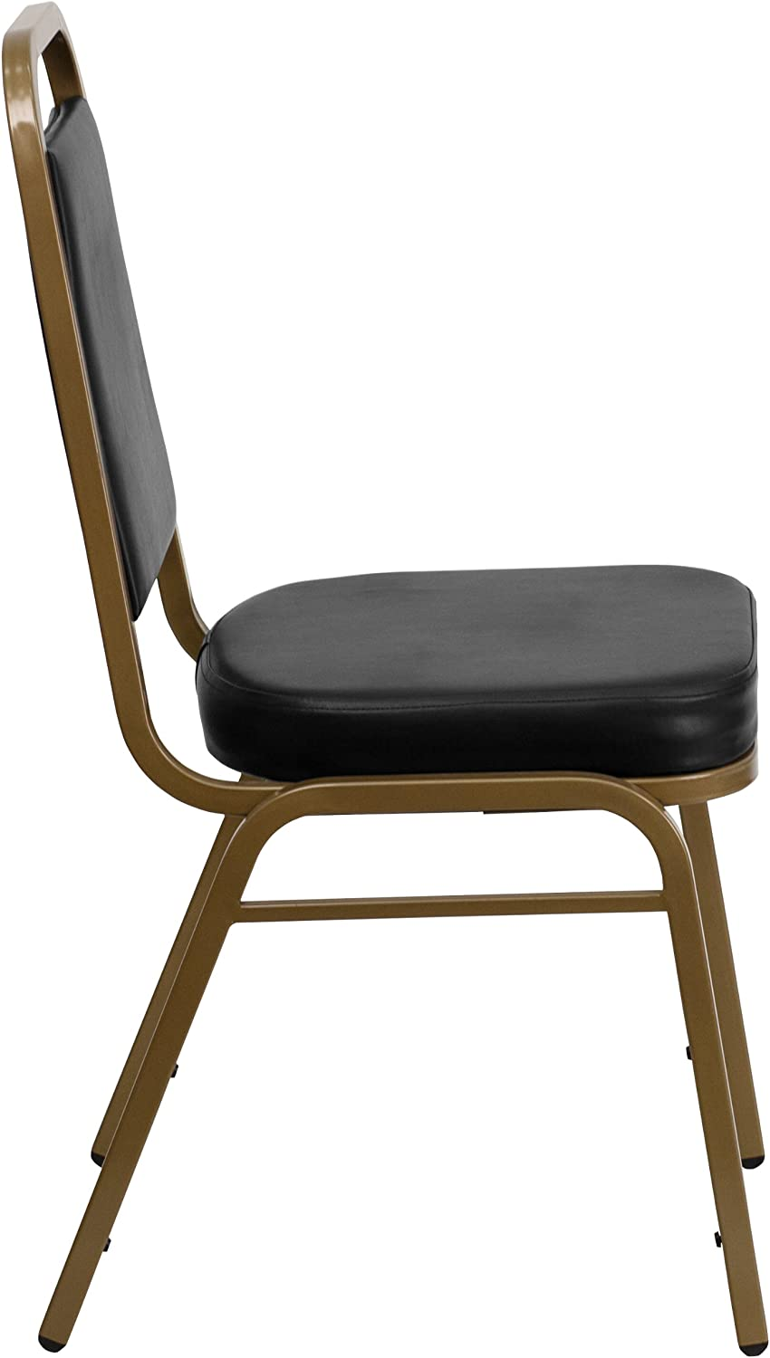 Flash Furniture HERCULES Series Trapezoidal Back Stacking Banquet Chair in Brown Vinyl Gold Frame