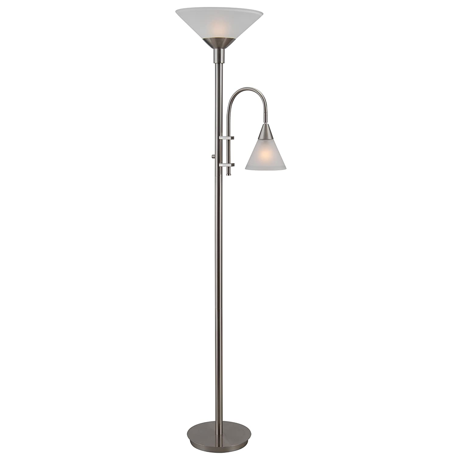Kenroy Home Brady Torchiere with Reading Arm, Brushed Steel Finish