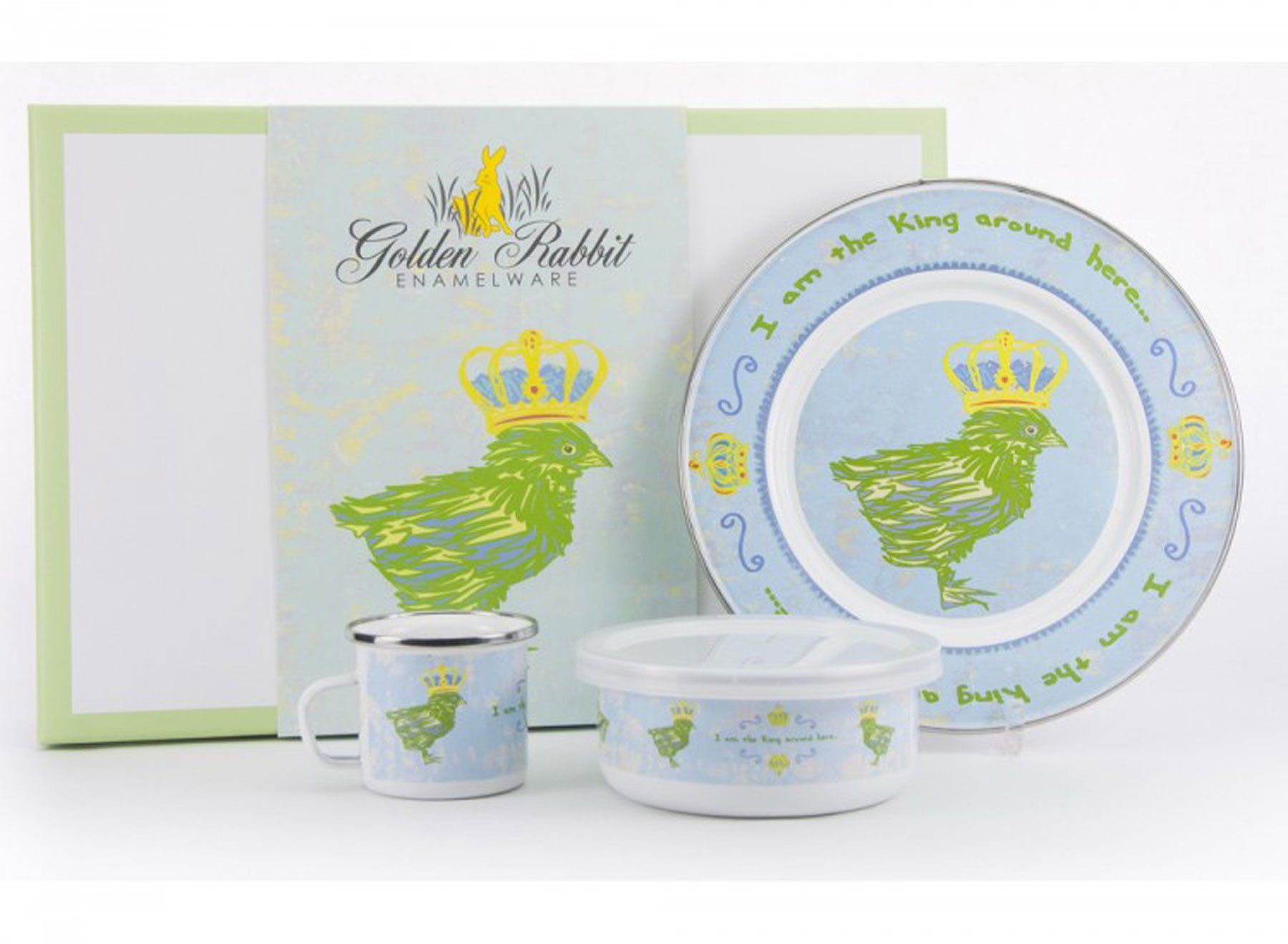 Enamelware - Chirp Boy Pattern - Kids 3 Piece Giftboxed with 4 Ounce Mug, 14 Ounce Bowl and 8½ Inch Plate