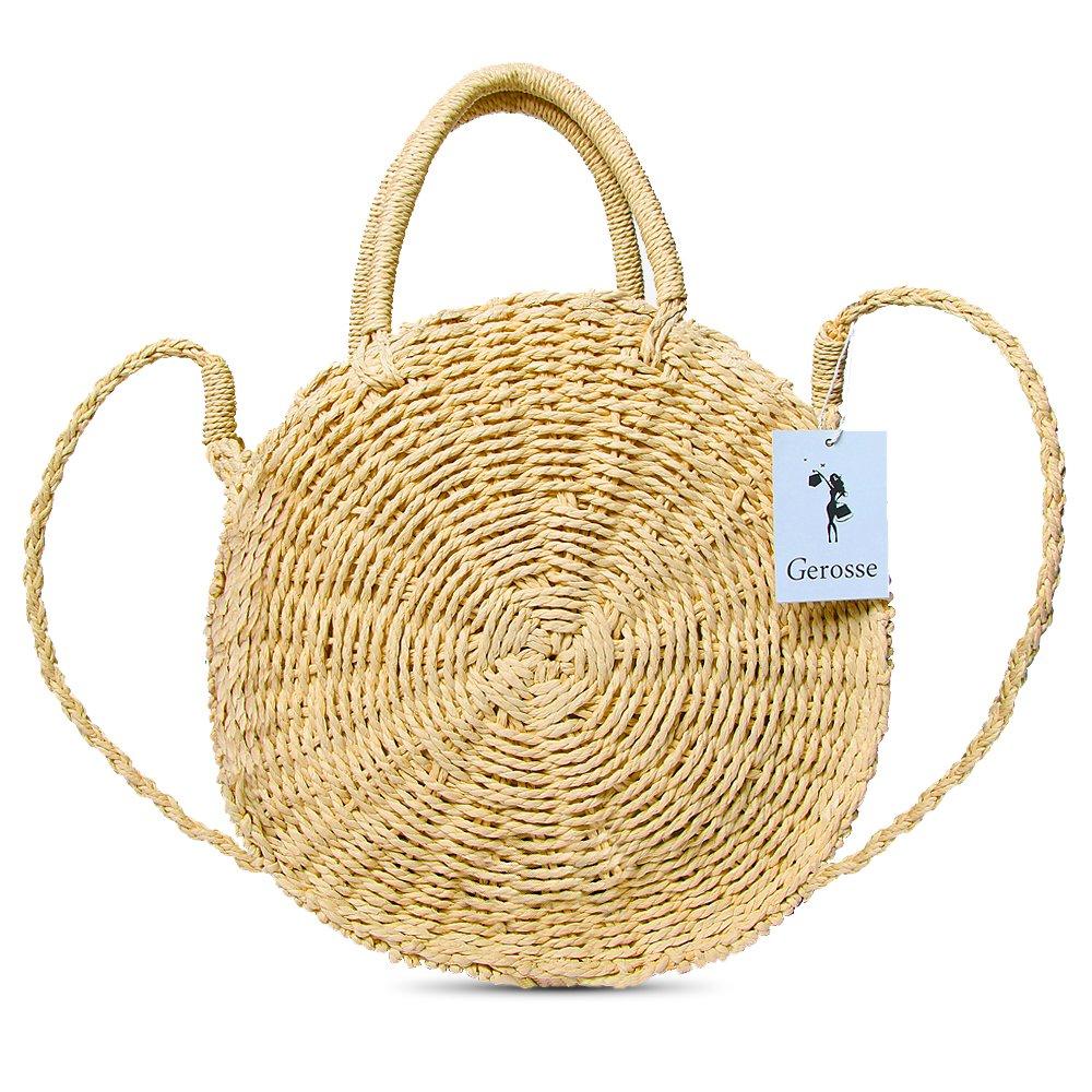 Gerosse Straw Shoulder Bag Round Top Handle Handbag for Women, Ladies Summer Beach Bag (brown)
