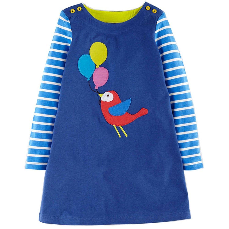 Girls Dresses Cotton Cute Animal Print Long Sleeve Dress by Jobakids(Blue,6T)