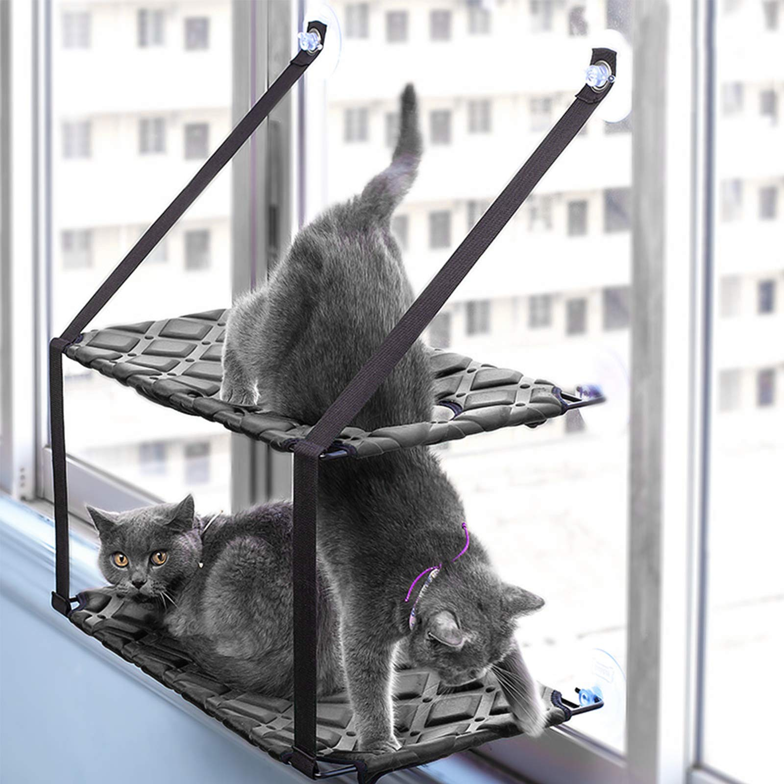 Voilamart Cat Window Hammock Double Layers Kitty Perches Bed Pet Radiator Sunny Seat with Fluff Pad, 4 Suction Cups Holds Up to 60lbs (Black)