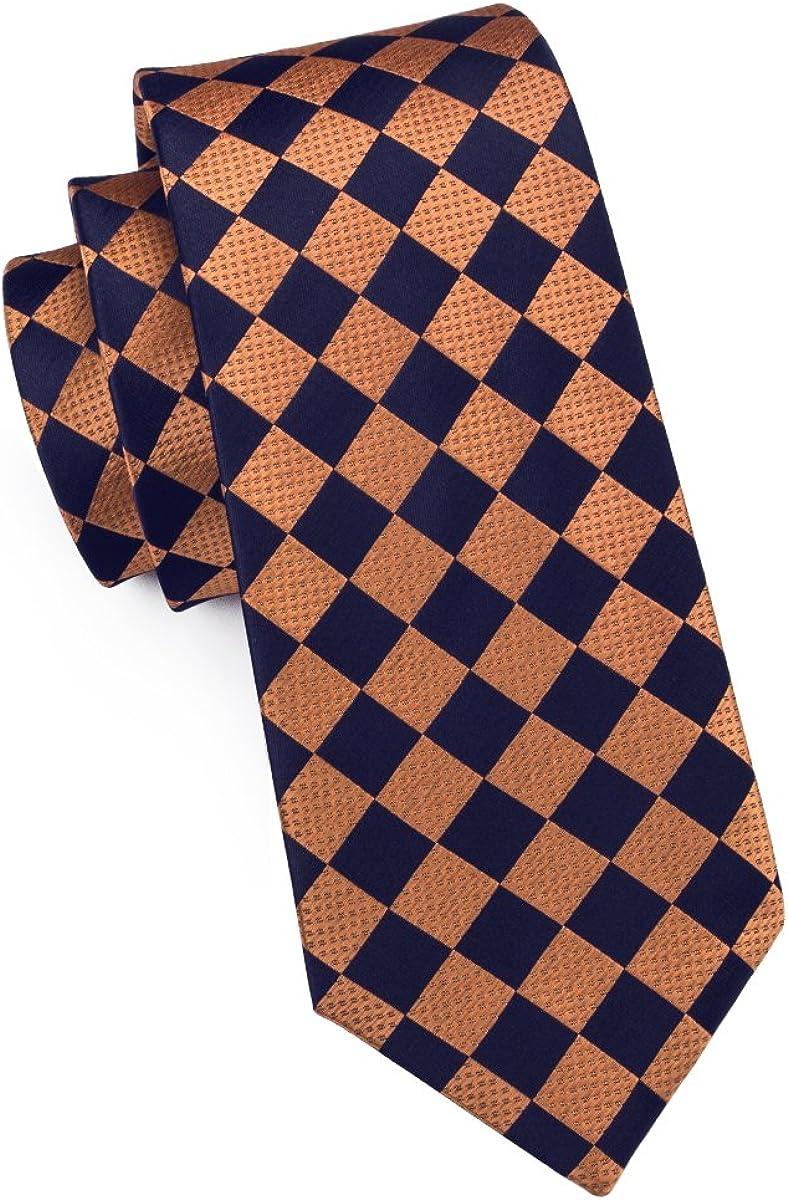 Check Tie Set Men Pocket Square Cufflinks Silk Plaid Business Tie Wedding Fashion