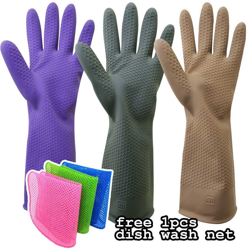 OliviaTree 3色 再利用可能なキッチンゴム手袋 (ミディアム、3パック) 無料のプレミアム食器用洗濯ネット B07L85B54K