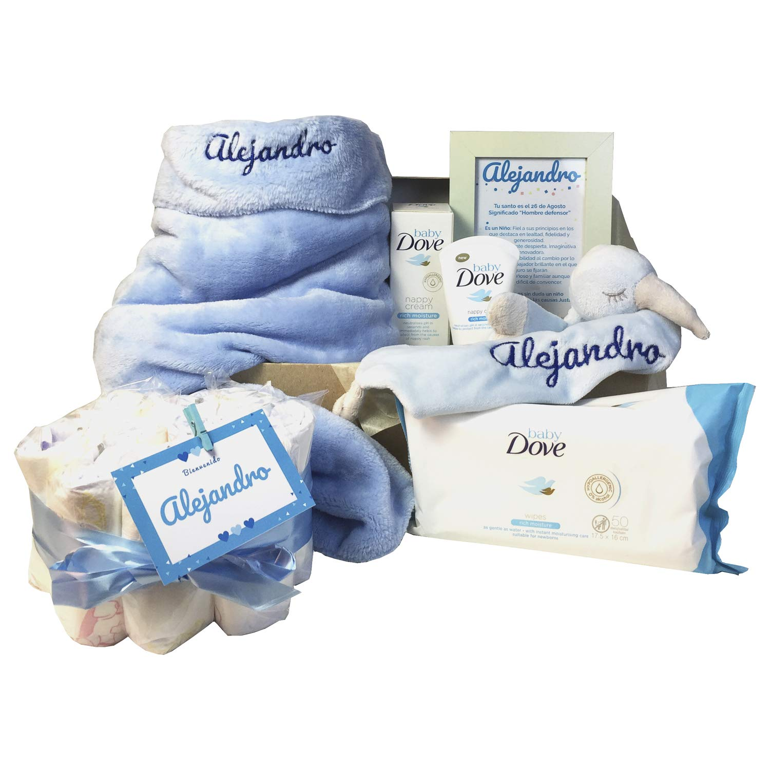 MabyBox Soft And Happy Regalo Bebe Personalizado Azul Canastilla bebe Cesta Recien Nacido
