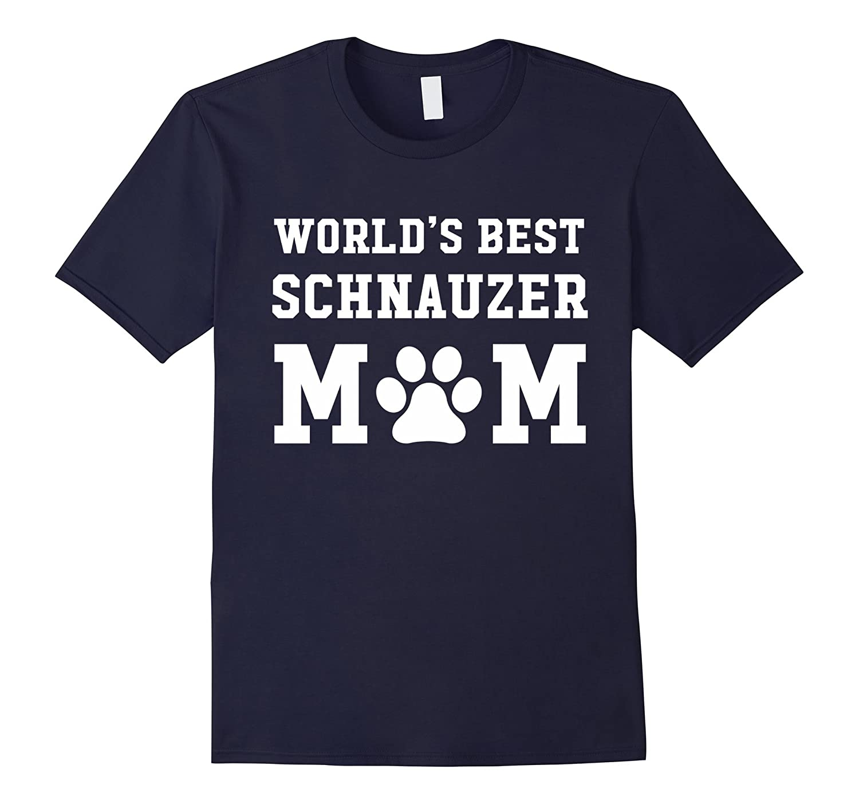 Worlds Best Schnauzer Mom Dog Lover Pawprint T-Shirt-BN