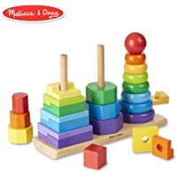 Melissa & Doug Apilador geométrico, juguete para niños pequeños, juguetes de desarrollo, anillos, octógonos y rectángulos, 25 piezas de madera en colores,  27.94 cm alto x 8.89 cm ancho x 21.59 cm largo