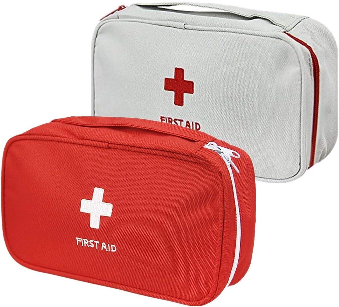 Rouge et Gris 2, Rouge et Gris Lot de 2 Trousses /à pharmacien en Nylon imperm/éable Couleur