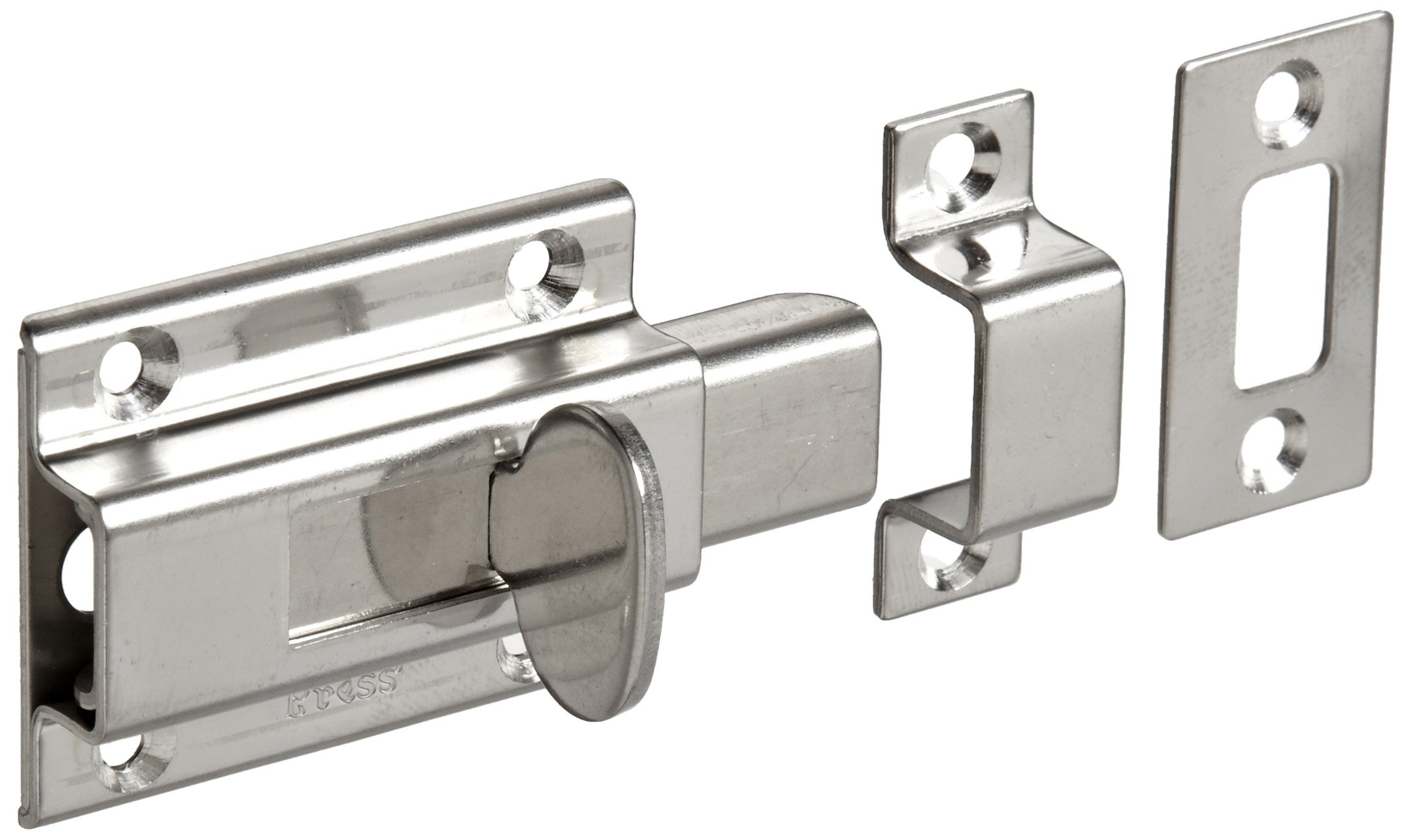 Stainless Steel 304 Slide Bolt Latch, Satin Finish, Non Locking, 1-31/32'' Bolt Plate Length, 53/64'' Throw Plate Length (Pack of 1)