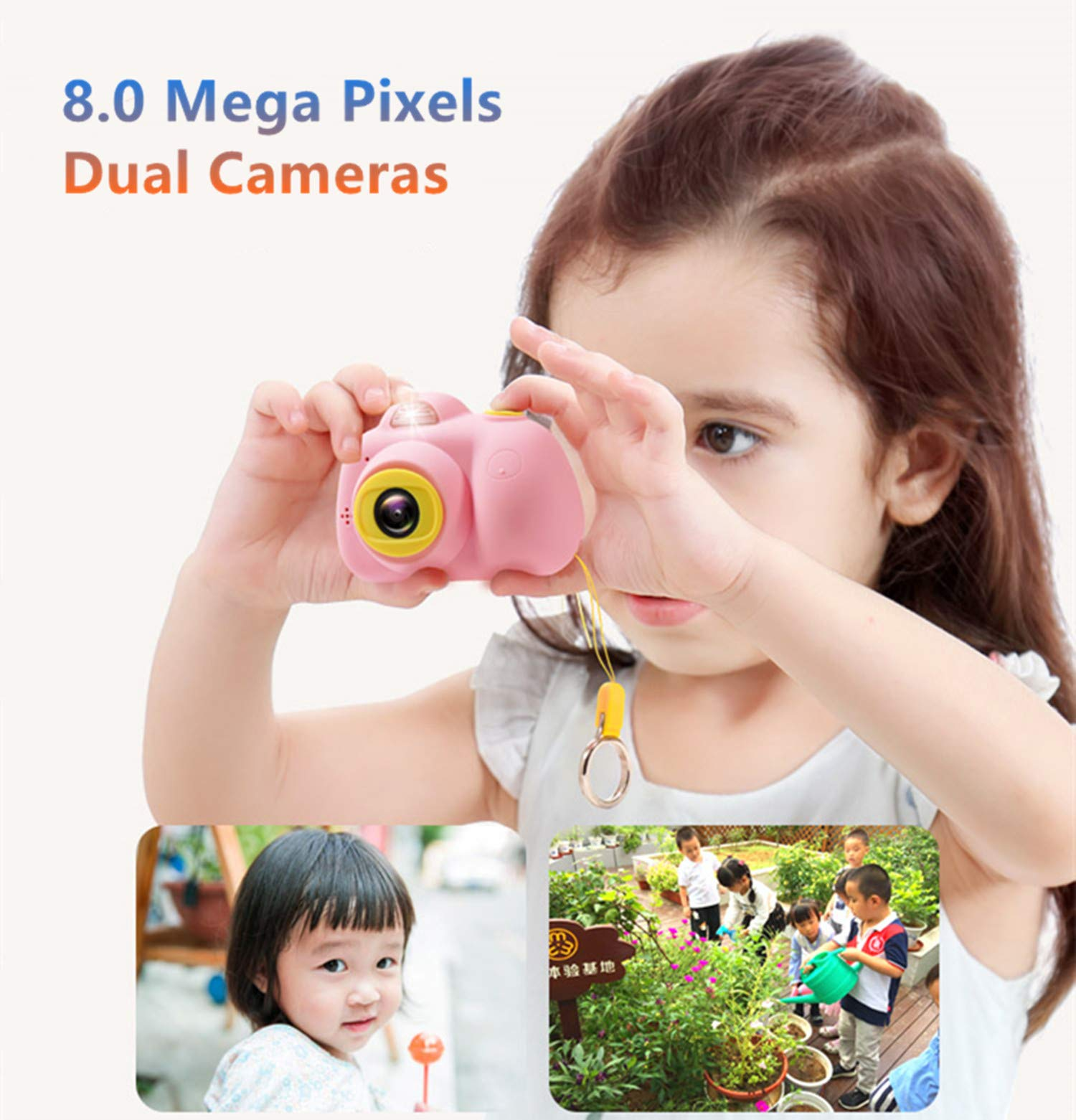 ESROVER Kids Digital Camera,2.0 Inch Screen 8MP Dual Shockproof Cameras Toys with Silicone Soft Cover Best Gifts Mini Selfie Camcorder for 4-8 Year Old Girls Boys Children by ESROVER (Image #7)
