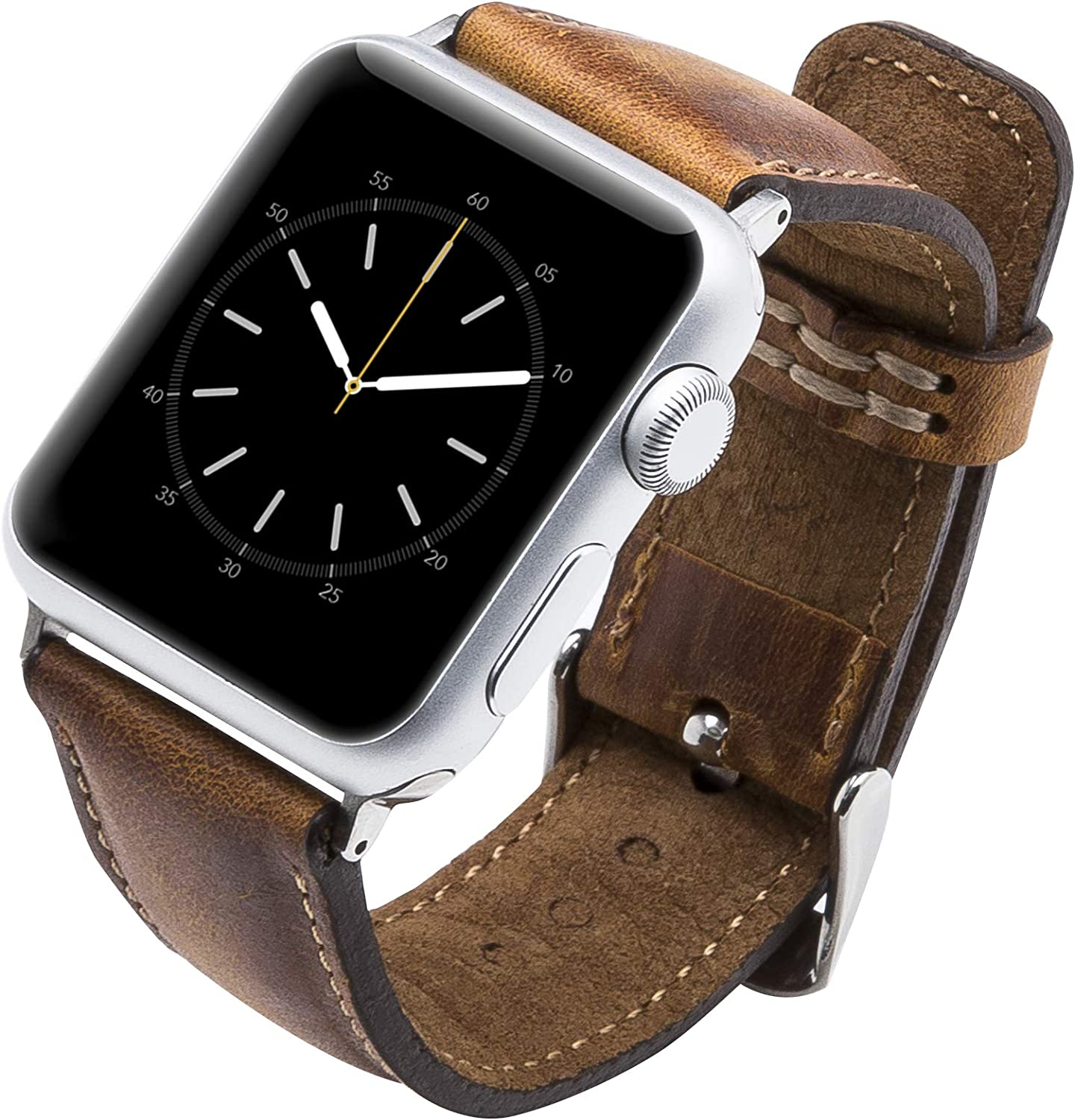 Venito Tuscany Leather Watch Band Compatible with Apple Watch 38mm 40mm - Watch Strap Designed for iwatch Series 1 2 3 4 5 6 SE (Antique Brown w/Silver Connector & Clasp)