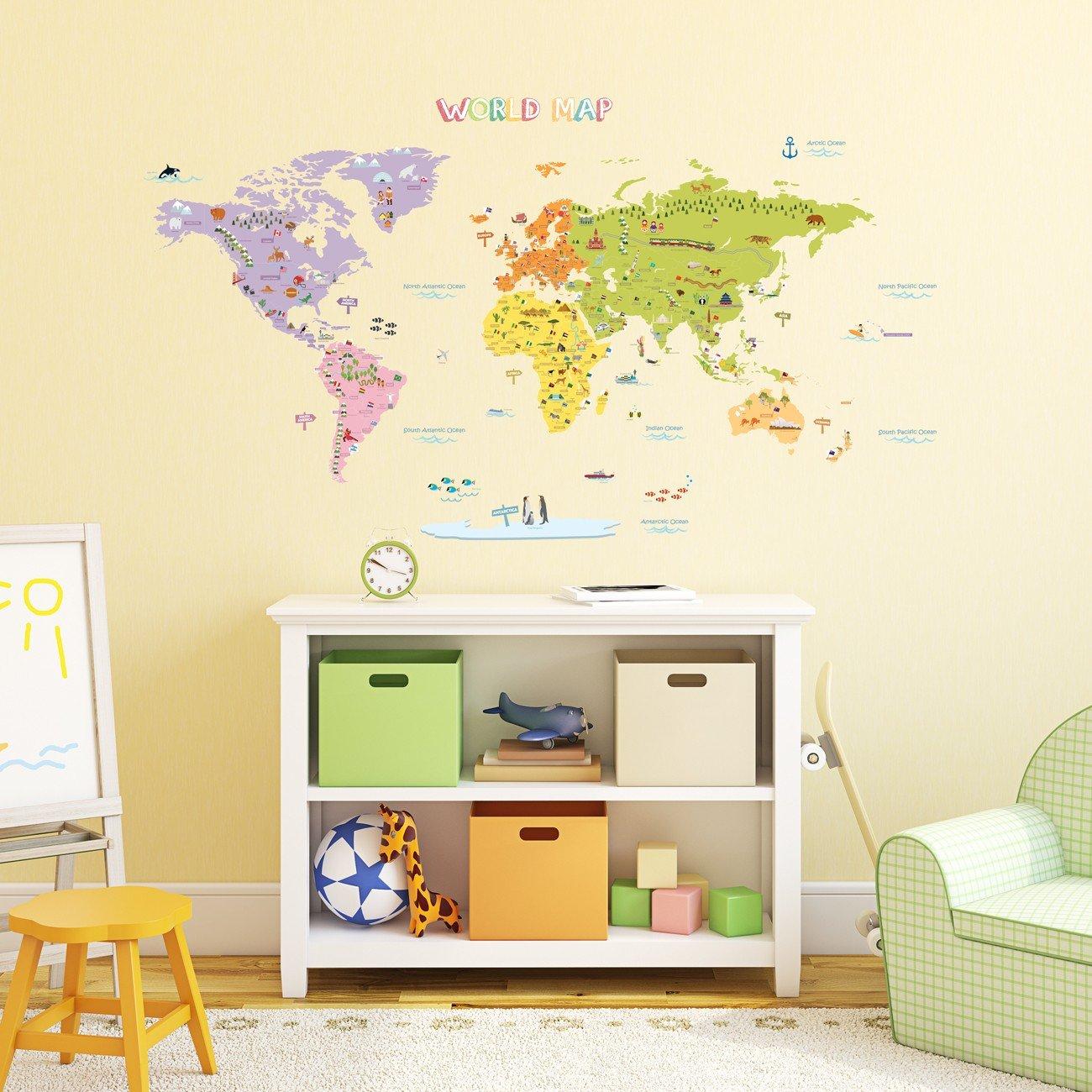 Decowall DMT-1306N Carte du monde Colorée Autocollants Muraux Mural Stickers Chambre Enfants Bébé Garderie Salon (Grande) (Ver anglais)