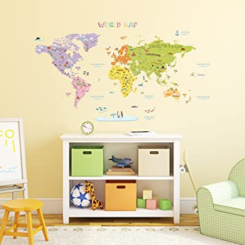 Decowall DMT 1306N Colourful World Map Kids Wall Stickers Wall Decals Peel  And Stick Removable Part 82