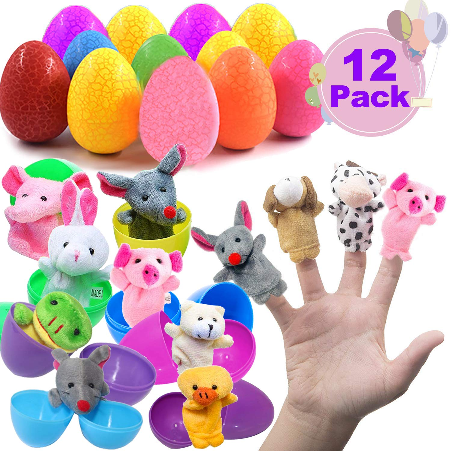 Easter Party Favors Easter Eggs Plush Animal Finger Puppets for Toddlers Easter Basket Stuffers Easter Surprise Eggs Filled with Mini Cartoon Toys for Kids Story Telling Birthday Surprise Gift 12Pcs Jupitaz