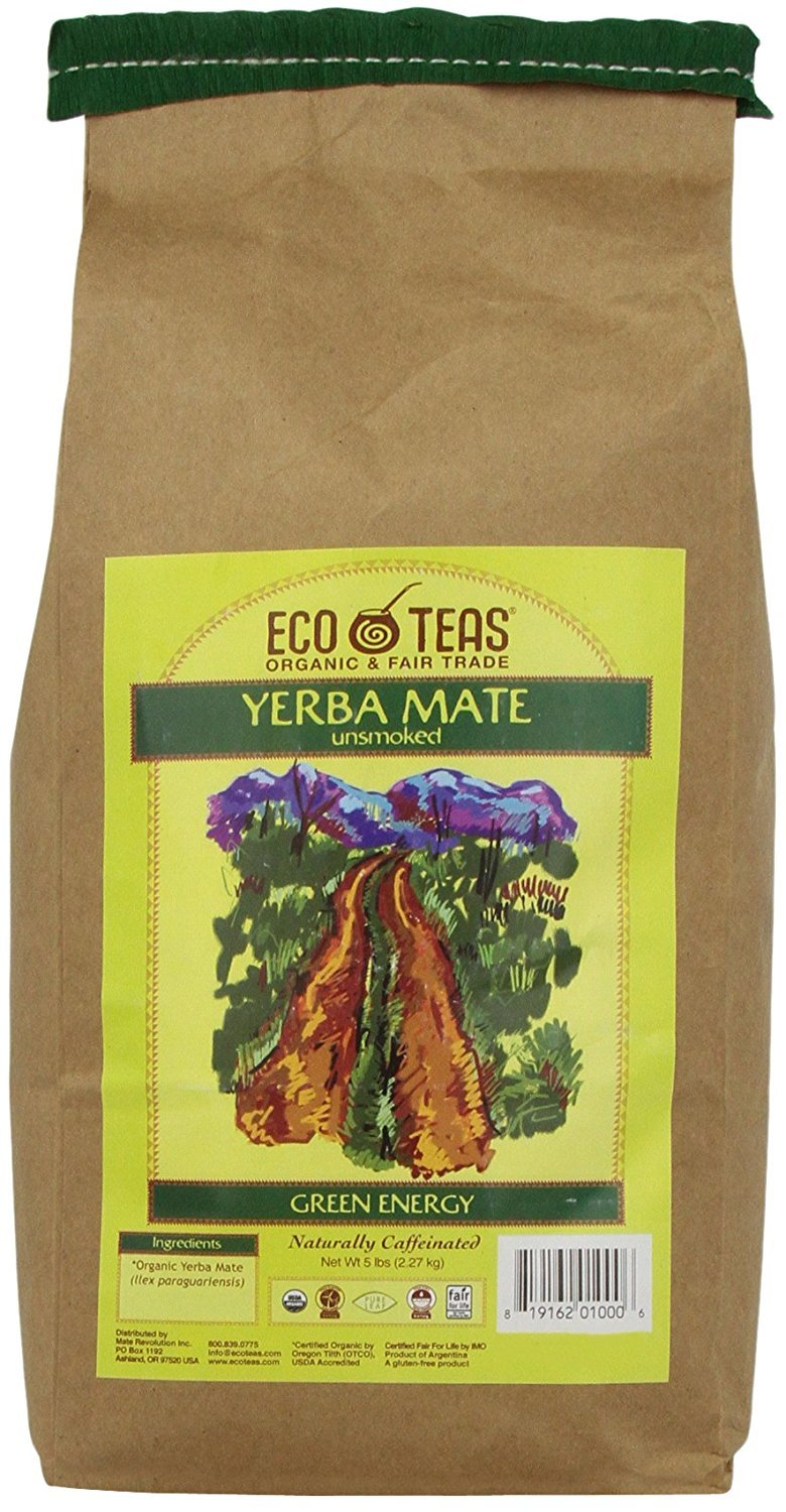 ECOTEAS Organic Unsmoked Yerba Mate Tea (Pure Loose Leaf) 5 pound by ECOTEAS