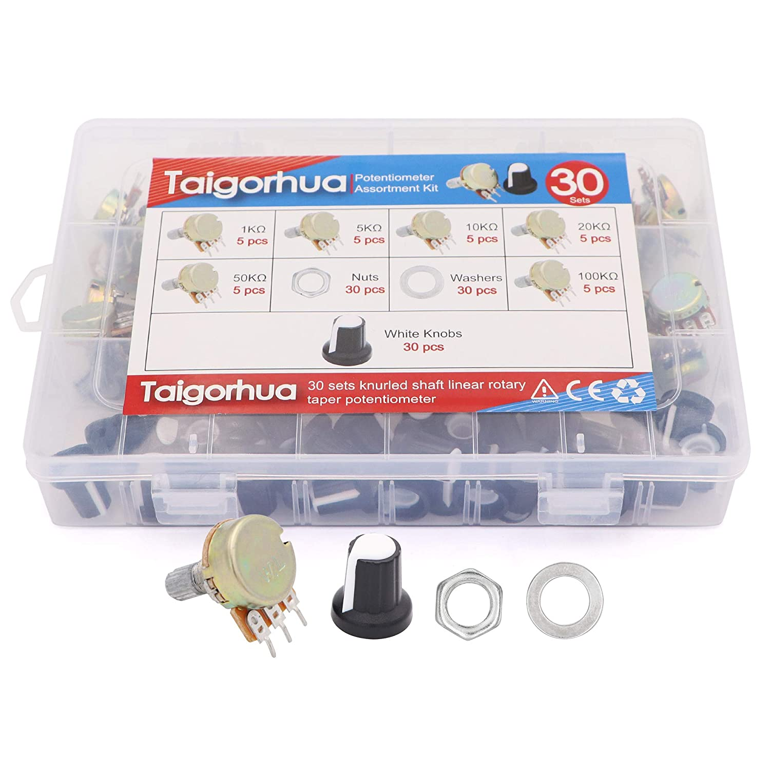 20sets 5k-100k Ohm Multiturn Trimmer,5k-100k Ohm Single Linear Taper 3 Pins Rotary Potentiometers Resistor with Knobs and Mini Screwdriver Kit