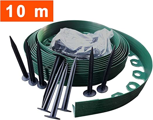 10 metros - flexibles césped de plástico con bordes 20