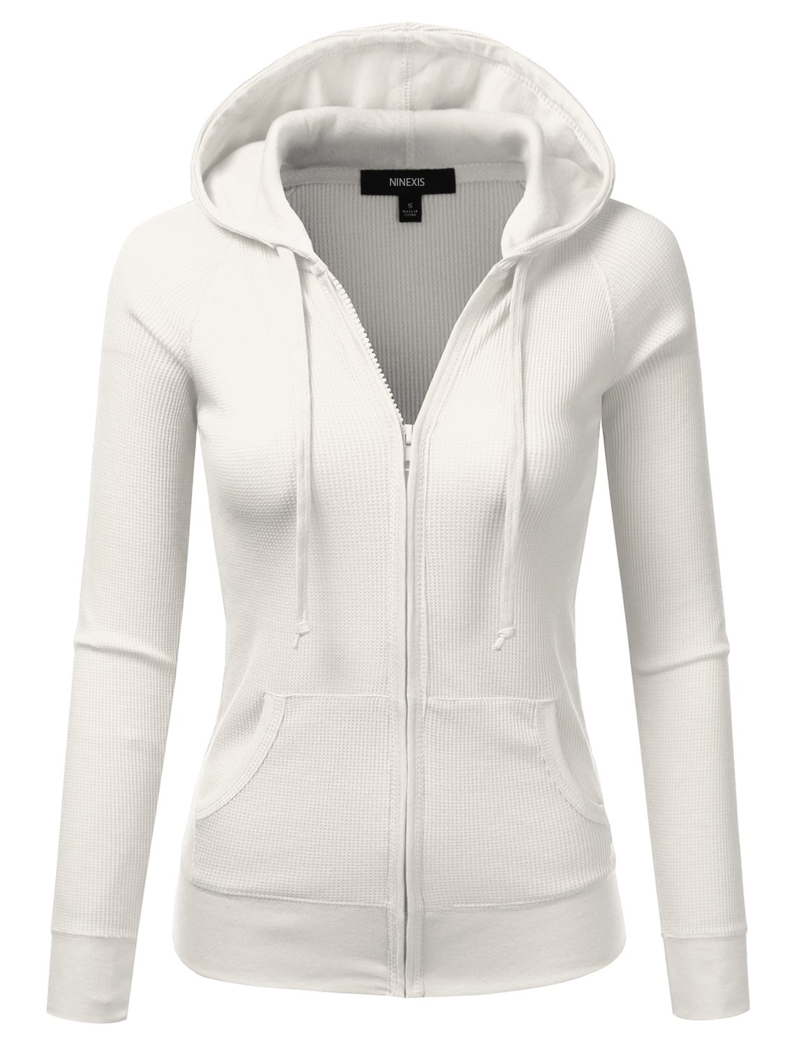 NINEXIS Women's Long Sleeve Casual Lightweight Hooded Thermal Zip-Up Jacket White L