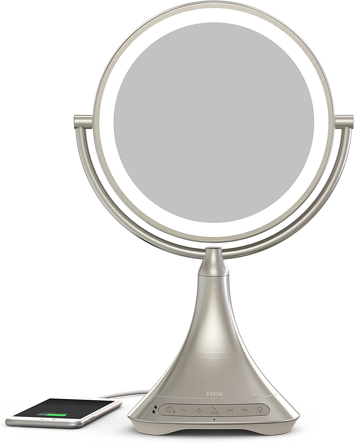 iHome All-in-One, 7X Magnify, 9 2-Sided LED Makeup Mirror, Bright LED Light Up Mirror, Natural Light, Double-Sided Vanity Mirror, Hands-Free Speakerphone, Bluetooth Audio Phone Charger