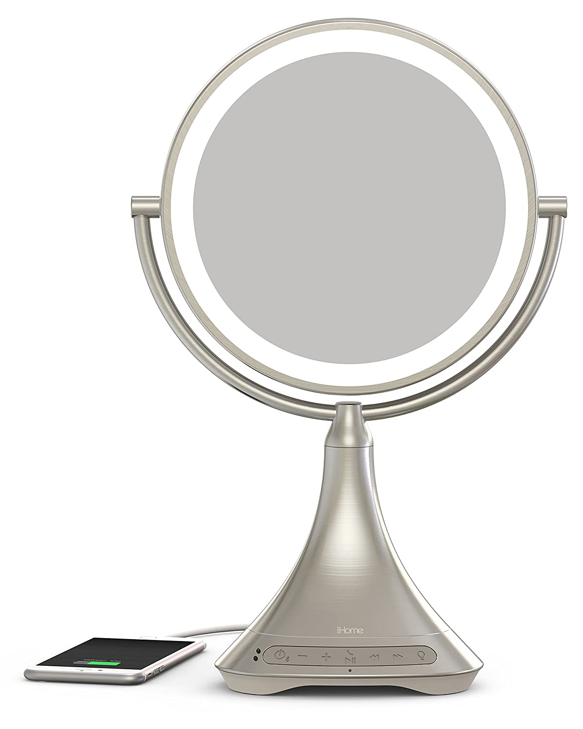 "iHome All-In-One, 7X MAGNIFY, 9"" 2-Sided LED Makeup Mirror, Bright LED Light Up Mirror, Natural Light, Double-sided Vanity Mirror, Hands-Free Speakerphone, Bluetooth Audio & Phone Charger"