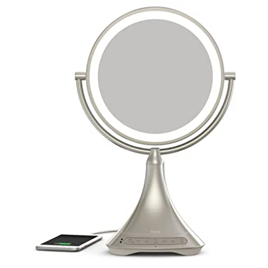iHome All-in-One, 7X Magnify, 9  2-Sided LED Makeup Mirror, Bright LED Light Up Mirror, Natural Light, Double-Sided Vanity Mirror, Hands-Free Bluetooth Speakerphone, Bluetooth Audio & Phone Charger