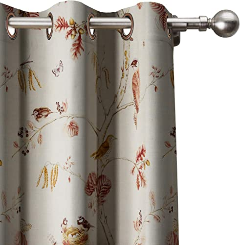 Rural Pastoral Flower Bird Extra Wide Curtain 120″ W x 102″ L